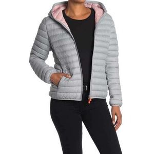 SAVE THE DUCK Opal Gray Giga Hooded Puffer Jacket